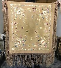 "Antique Hand Embroidered Piano Shawl 27"" By 29"" Small Tiny Hole In Centre"