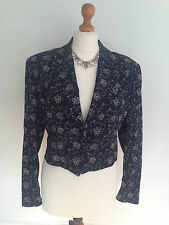 KENZO City ladies black / white floral tuxedo jacket / bolero size 40 UK 12