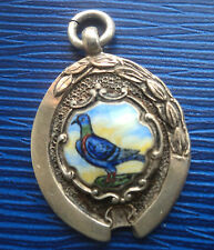 Vintage Silver & Enamel Fob Medal / Pendant Pigeon 1948 Chester  -  not engraved