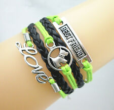 Cute Best Friend/Dog/Love Charms Leather Braided European Bracelet Green/Black