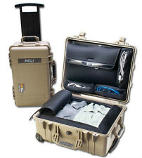 Desert Tan - Pelican 1560LOC With bottom travel insert & 4 lid pouches.  1560