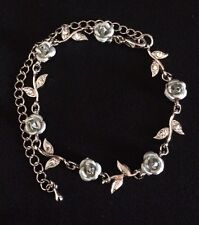 ROMANTIC SILVER ROSE VINE FLOWER RHINESTONE BRACELET CHAIN ANTIQUE JEWLERY