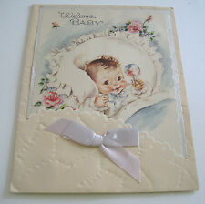 Used Vtg Greeting Card Cute Baby in Bed with Rattle