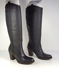 $219 size 7.5 Lucky Brand Ebbie Black Printed Cow Leather Knee High Boots NEW
