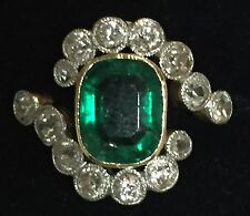 Antique Estate 14K Yellow Gold Emerald Cut Emerald Ring with Diamonds