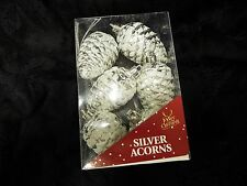 Pack of 6 new silver and white snow effect acorn Christmas tree bauble ornaments