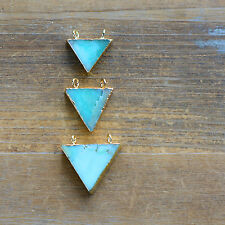 1 Triangle Amazonite Pendant w/ 24K Gold Plating Flag Connector Gemstone Jewelry