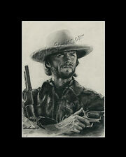 Clint Eastwood actor western freehand drawing from artist art image picture