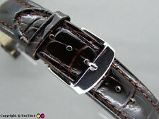Leather watch strap CROCO XXXL Chocolate 18mm