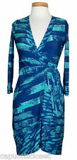 NEW BCBG Max Azria Womens Dress ALBERTA Wrap Jersey Abstract Print Blue XXS $198