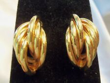 AWESOME Design Vintage Goldtone TWISTED Layers of Metal TUBES Earrings 15E74