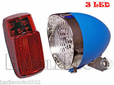 KIT Fanale Luce Anteriore Blu + Posteriore 3 LED Bici Olanda - R - Graziella