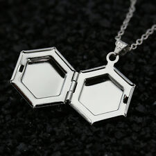 925 Silver Hexagon Photo Picture Charm Locket Pendant Necklace Chain Jewelry