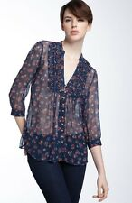 Joie S Blue Romantic Flower 100% Silk Chiffon Peasant Festival Blouse Boho Shirt