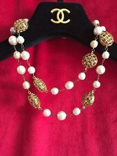 "Chanel Pearl Necklace W Quilted Gold & Pearl Detail 30"" Vintage 1990 Collection"