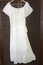Fresh White Peasant 2X Cotton Lined Sun Dress Long Floaty & Airy On Off Shoulder