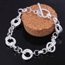 New Fashion Women Sterling Silver Bracelet Jewelry Bangle  Chain Charm Gift