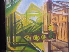 MUXFELDT Kubist  Expressionist abstrakt Stadtansicht  Malerei Ölgemälde painting