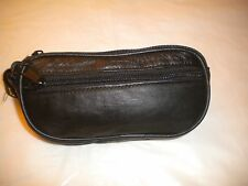 Leather Double/Dual Eyeglass/Eye Glass/Sunglass/Sun Glass Case New BLACK COLOR
