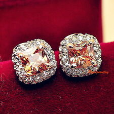 Rose Gold Filled Princess Cut Citrine Topaz Swarovski Square Stud Earring IE40