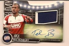 TEAL BUNBURY 2016 TOPPS MLS APEX GAME USED MATCH DAY DIE-CUT AUTO JERSEY /45