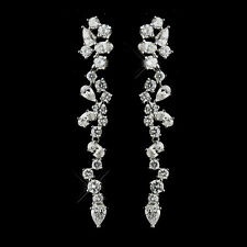 Antique Silver Clear CZ Crystal Dangle Bridal Earrings #2654