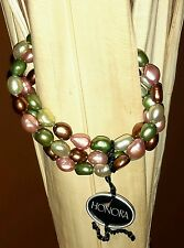 HONORA TRIPLE STRAND PEARL BAROQUE STRETCH BRACELET RAINFOREST PINK GREEN NEW!!
