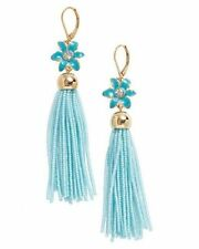 NWT KATE SPADE Lovely Lilies Turquoise Blue Gold Beaded Tassel Drop Earrings