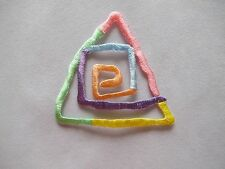 #4100 Rainbow Color Triangle,Spiral Drawing Embroidery Iron On Applique Patch