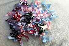 "100 pcs colorful heart printed softly satin  ribbon bow size 10 mm (3/8"") tied"