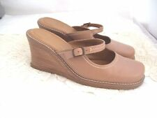 Avenue Cloudwalkers Size 8W Holland Wedge Mary Jane Mules  Light Brown