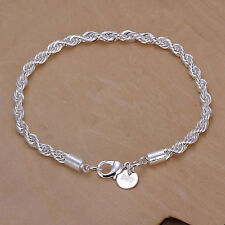 925 Sterling Silver Bracelet Twisted Rope Chain Ladies Girls Fashion Gift Bag