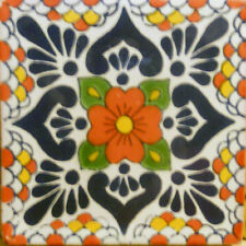 9 MEXICAN TILES WALL FLOOR USE TALAVERA MEXICO CERAMIC HANDMADE POTTERY C#117