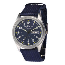 AK Homme Army Blue 24 HR Dial Date Day Nylon Band Strap Men Sport Military Watch