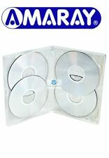 5 x 4 Way Clear DVD 15mm Spine Holds 4 Discs Empty New Replacement Case Amaray