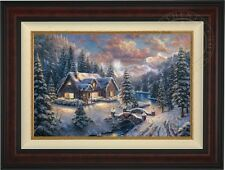 "Thomas Kinkade High Country Christmas 18"" x 27"" LE G/P Canvas (Burl Frame)"