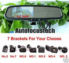 """Auto Dimming Mirror + 4.3"""" Parking Rearview Display + Compass/Temperature/Camera"""