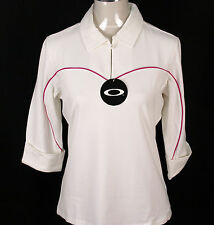 BNWT WOMENS OAKLEY STRETCH HACKER GOLF POLO SHIRT BLOUSE SMALL UK10 WHITE NEW