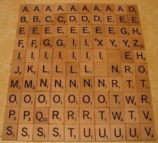 Scrabble Tiles Complete Set of 100 Replacement Pieces Wood Letters Wooden Crafts