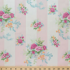 """3 y lot Shabby Stripes In Posies By Spectrum Fabric 100% cotton Upholstery 56"""""""