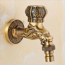 NEW Antique Brass Dragon Carved Washing Machine Faucet Wall Mount Cold Water Tap