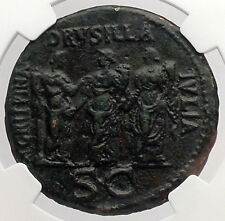 CALIGULA 3 Sisters Sestertius DRUSILLA AGRIPPINA NGC Certified Roman Coin i54741
