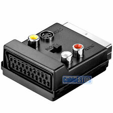Commutabile Scart Maschio a Femmina & 3 X RCA Phono & 4 PIN MINI DIN SVHS ADATTATORE TV