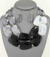 Two Layers Black And Grey Lucite Bead Chunky Necklace Earring Set