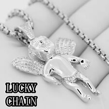 "STAINLESS STEEL LAB DIAMOND SILVER ANGEL PENDANT 24""ROUND BOX CHAIN 35g R152"