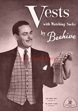 Men's Knitted Vests with Matching Socks Knitting Patterns, Beehive Book No.64 CD