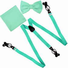 New in box Men's Convertible Elastic Strap Suspender_Bowtie Hankie Aqua Green
