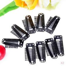 40Pcs Black Snap Comb Clips 36mm for Toupee Wig Weft Rubber Back