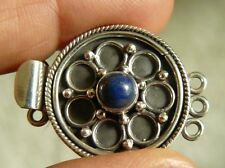 Box Clasp Triple Strand Lapis Gemstone and Sterling Silver very secure