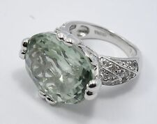 ART DECO INSPIRED LARGE 18x14 mm GREEN AMETHYST STERLING RING * sz 5.5~ 8.1g